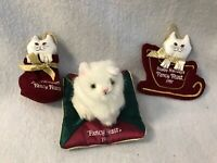 Vintage Fancy Feast Collectible White Cat Christmas Ornaments 1996 1997 1998