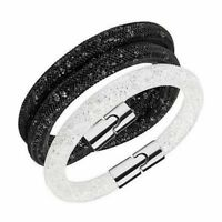 SWAROVSKI Stardust Set of 2 Bracelets: White Single & Black Double - Gift Boxed