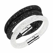 SWAROVSKI Stardust Set of 2 Bracelets: White Single & Black Double - Gift Boxed
