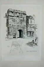 1884 Joseph Pennell Etching Gateway Canterbury Cathedral Art Antique