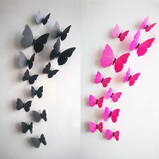 Rose Red DIY 3D Butterfly Wall Sticker Decal Home Decor Decoration Art Room 12pc