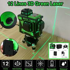 12 Lines 3D Green Laser Level Self-Leveling 360° Horizontal Vertical UK Plug