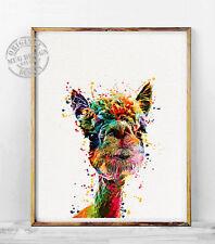Llama Watercolor Painting Alpaca Print Nursery Animals Wall Decor Illustration