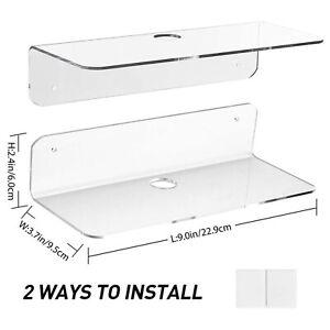 1/2Pcs Acrylic Floating Wall Shelf Storage Display Rack Bedroom Self Adhesive