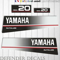 Yamaha 20 HP AUTOLUBE outboard engine decal sticker Set Kit reproduction 20HP