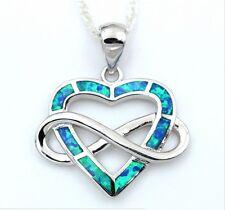Halskette Feueropal 925 Sterlingsilber unendlichkeit Herz Unendlichkeit liebe 40