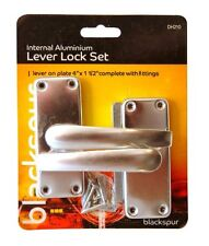 POLISHED ALUMINIUM INTERNAL LEVER LATCH HANDLE SET INSIDE DOOR WITH FIXINGS