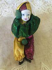Vintage Small Sitting Court Jester Porcelain Doll
