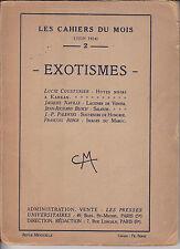 cousturier, naville, bloch EXOTISMES les ahiers du mois JUIN 1924 paris