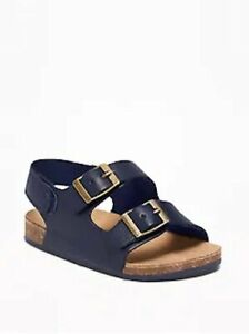 Boys Old Navy Infant  Navy Blue Earth Adjustable Buckle Strap Sandals 1 2 3