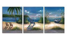 Canvas Prints Sea Beach Painting Printed On Canvas Wall Art Decor 3 Panels 12 X