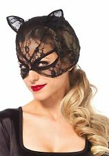 Sexy Black Lace cat mask with lace up back one size LA3746 UK New Fancy Dress