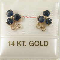 14k Yellow Solid Gold Round Cut Genuine Natural Blue Sapphire Stud Earrings TPJ