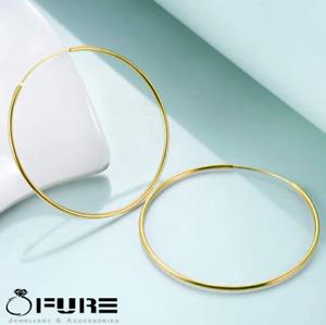 18K Gold Plated Sterling Silver Post Large Seamless Huggie Hoop Earrings 55MM
