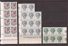 1968/72 TURRITA FLUORESCENTE GOMMA ARABICA L. 180 + 200 + 300 IN 3 BLOCCHI MNH**
