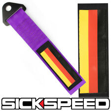 PURPLE GERMAN FLAG HIGH STRENGTH RACING TOW STRAP FRONT REAR TOW HOOK