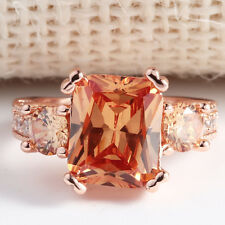 Gorgeous 925 Silver Rose Gold Filled Citrine Ring Bridal Party Women Jewelry Sz9
