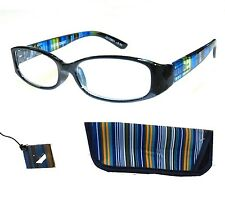 Quality Woman's +1.00 Foster Grant Blue Stripe Reading Glasses w Case Spring Hng