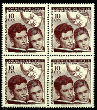 CHILE, LITERACY, GABRIELA MISTRAL, BLOCK OF 4, YEAR 1966, MNH