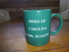 Vintage Girl Scouts Coffee Mug  Pines of Carolina   Girl Scout Green   1970's