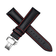 21mm Black Leather Red Stitching Watch Band Strap Fit For Longines L682124853