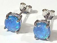 Blue Opal 6mm Stud Earrings 925 Sterling Silver Lab Created Blue Opal