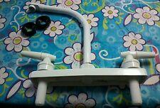 RV Marine camper Kitchen Sink faucet Hi-Rise Spout. White. lever Handles