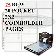 25 PAGES BCW Polypropylene  - HOLDS 500 2x2 COIN HOLDERS COINS SLIDES HOLDER