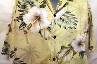 JC Hawaii Hawaiian Shirt White Big Hibiscus Tropical Floral Yellow Size Large