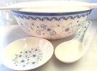 5 Piece Asian Pho Noodle Soup Bowl Plate Spoon Chopstick Set Melamine Plastic
