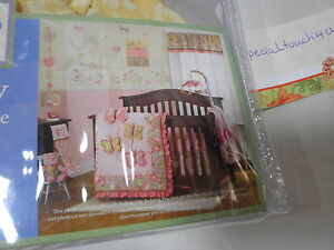 2 pcs Cocalo Baby MAEBERRY Crib Fitted Sheet & Window Valance ~ Pink Floral New
