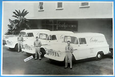 """12 By 18"""" Black & White Picture 1956 Chevrolet Crossley's Flowers Panel Trucks"""
