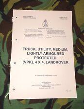 MILITARY ARMY SNATCH VPK LANDROVER USER HANDBOOK NORTHERN IRELAND IRAQ AFGAN
