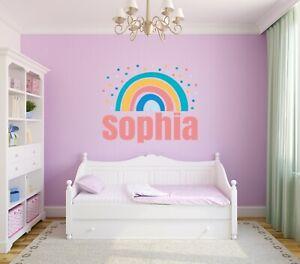 Rainbow Custom Name Wall Decal - Personalized Boho Rainbow Name Wall Art Modern