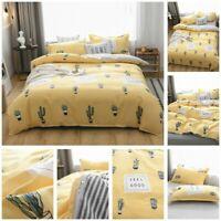 Yellow Cactus Doona Duvet Quilt Cover Set Single Queen King Size Bedding Linen