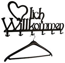 Garderobe **Herzlich Willkommen** 6 Haken, 58 cm - schwarz - Hakenleiste - NEU