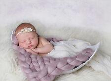 Trama grossa Blush Visone Merino Baby COPERTA Neonato Fotografia Prop CESTINO BAMBINO