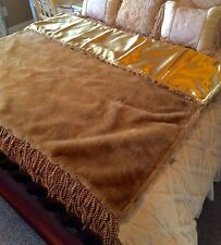 "Golden Faux Fur Throw with Fringe - 58"" x 62"""