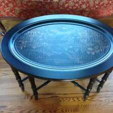 Ethan Allen Chinoiserie Removable Tray Top Coffee Table