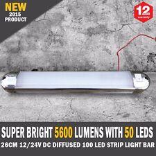 NEW 26cm 12/24V DC Diffused 100 LED Strip Light Bar Camping Caravan Boat Trailer