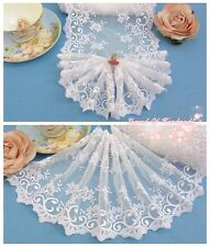 """8""""*1Y Embroidered Tulle Lace Trim~White~Honeysuckle~Instant Romance~Wedding"""