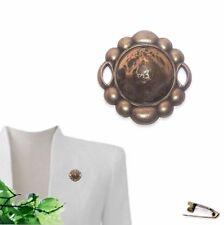 40mm Brooch Lapel Pin - Round Antique Brass & Gold & Brown Swirl - Resin
