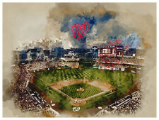 Washington Nationals Poster Watercolor Art Print Man Cave Decor 12x16""