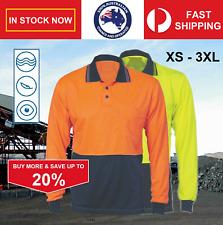 XS - 3XL 100% Polyester Hi Vis Viz Fluro Safety Polo Shirt Long Sleeve Wholesale