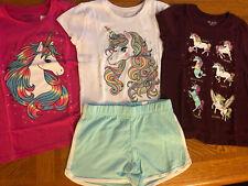 Children's Place Girls Size 7/8 Lot Unicorn Shirts/Tops & Dolphin-Style Shorts