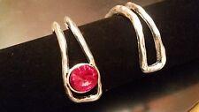 ¡¡OFERTA 2x1!! 1 Medias pulseras Zamak abalorios piedra roja bisuteria (MEP-04R)