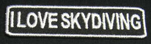 I LOVE SKYDIVING Patch/Badge for Skydive T-Shirt Hat Cap Bag Container Rig 25P