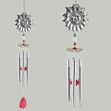 "Sun Face Wind Chime Silver & Red Gem Hanging Decor Metal Suncatcher 17"" 11355"