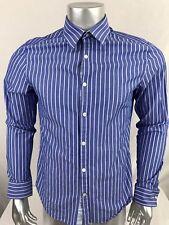 Penguin Mens Button Up Shirt Size 15&1/2 Blue White Stripe Heritage Slim Fit