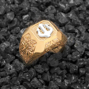 Mens Gold Ring Men Signet Ring Mens Trident Jewelry Oxidized Silver Ring Gift